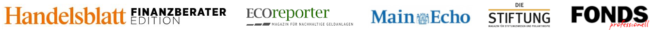 Handelsblatt, ECOReporter, Main Echo, Die Stiftung, FONDS Professionell